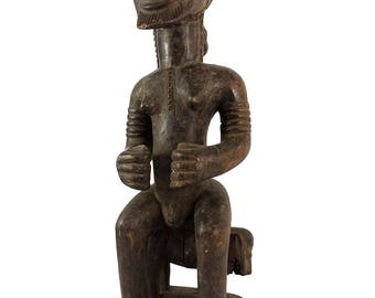 Baule Seated King on Animal Ivory Coast African Art 23 Inch 116765