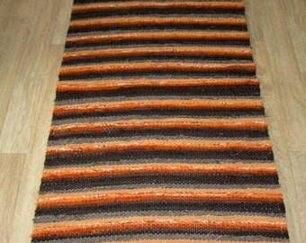 Hand woven rag rug 2.3 feet by 4.49 feet(70cm x 137cm)  brown. orange ,ready for sale