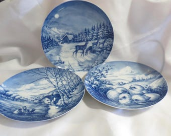 Vintage 1970s Forstenberg West Germany Blue and White Collector Plates