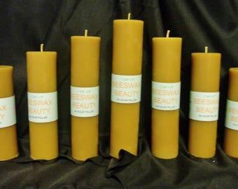 100% Pure Beeswax Pillar Candle 7 Pc Set