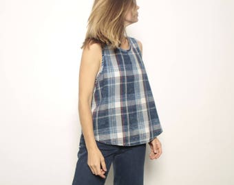 90s nirvana GRUNGE plaid FLANNEL tank top shirt crossover