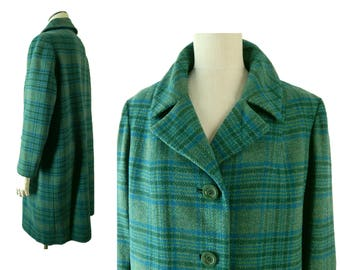 "Vintage 1950s Pendleton Wool Plaid Coat. Classic Green and Blue Plaid. Full Cut. Large. 46"" Bust. Made in USA."