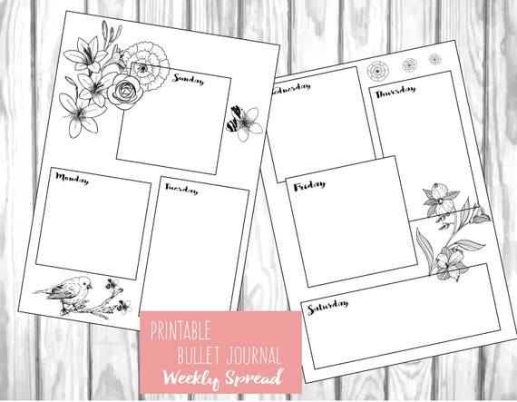 Sweet image in bullet journal monthly spread printable