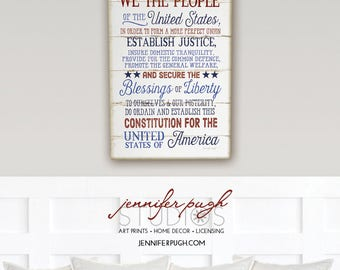 We the People - 12x16 Art Print - Inspirational, Patriotic, School, Holiday, Country, Vintage, Home, Wall Decor - Red White Blue