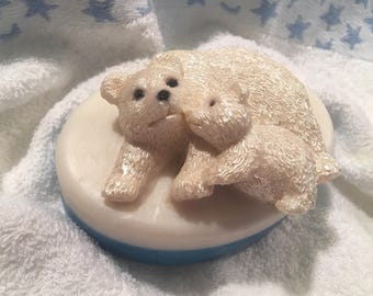 Polar Bear and Cub Olive Oil & Cocoa Butter Glycerin Soap - Unique Gift Giving, BIG 7.2 ounces