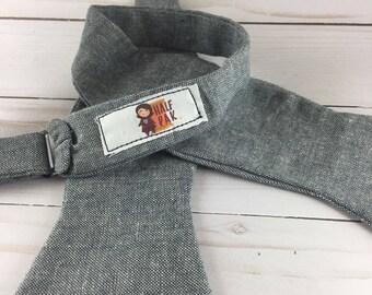 Blue Gray Linen Adjustable Bow Tie, bowtie for men, wedding ties, groomsmen ties, wedding guest ties, gifts for him, gifts for men, gift man