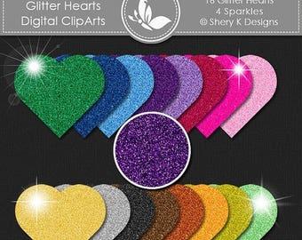 """40% off Glitter Hearts-  Digital clip art - 3"""" x 3"""" - 300 DPI"""
