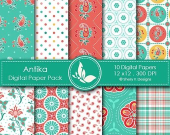 40% off Antika Paper Pack - 10 Digital papers - 12 x12 - 300 DPI