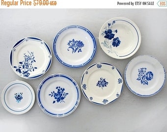 Set of 7 antique French plates flowers stencils, blue collection , set for wall decor, decoratives plates french country style kitchen decor