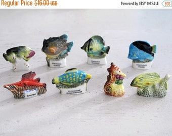 French Feves Porcelain Glazed- fish - see decor -sea horse miniatures fishes - Figurines King Cake Baby Doll House Miniatures Mini