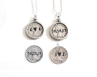 Sixpence Necklace . sixpence bridal gift . sixpence coin engraved . sixpence shoe . lucky bride