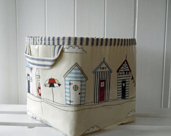 Beach Hut Print Large Storage Basket Bin- ticking lining