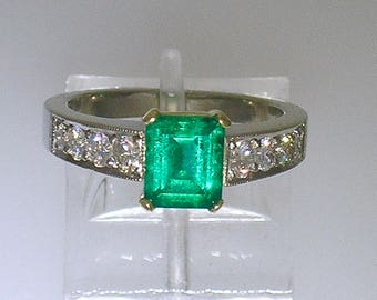 EMERALD DIAMOND RING~Platinum and 18k Gold Emerald-cut Emerald Diamond Ring