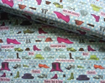 Japanese Cotton Fabric Yuwa, Retro Fabric, 1970s Fabric, Dress Fabric, Vintage Paris Fabric, Quirky Fabric, Polka Dot/Mode de Paris/a yard