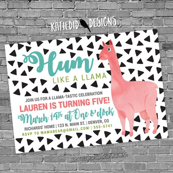little girl 1st birthday invitation Llama alpaca co-ed party invite triangle confetti twins brother sister pink green 2003 Katiedid Designs