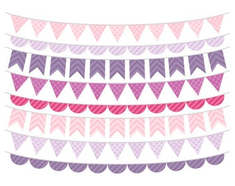 Purple and Pink Bunting Clip Art, Girl Clipart, Digital Bunting Flags, Banner Flags Clipart, Commercial Use, Instant Download