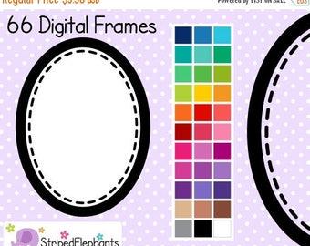 40% OFF SALE Stitched Oval Digital Frames - Clip Art Frames - Instant Download - Commercial Use