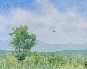 ACEO Original watercolor painting - Green pastures
