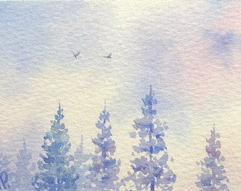Original ACEO watercolor painting - Sunny winter day I
