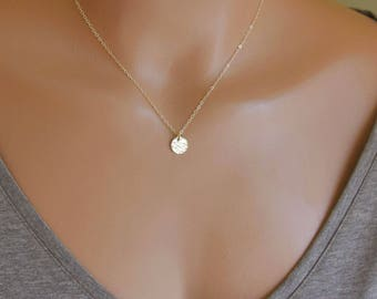 Dainty Initial Necklace, Personalized Coin Necklace, Small Gold Disc Necklace, Mothers Gift, Bridesmaid Gifts, 14k GF, S/S, RG 9MM