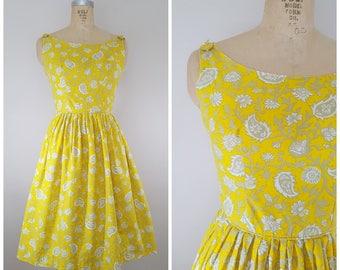 Vintage 1950s Sundress / Sunny Yellow Floral Dress / Cotton 50s Dress / XS