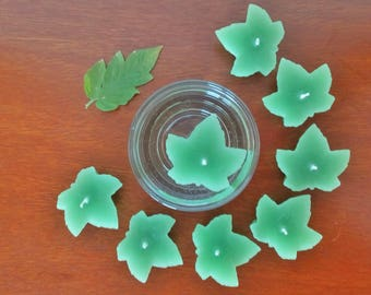 Leaves floating candles / Set of 7 green fresh leaves scented leaf shaped candles / Home & garden decor / Housewarming gift / Unisex gift