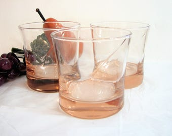 "MCM Blush Pink Old Fashioned Glasses, Rocks Glasses, Tumblers, Set of 3,  3.5"" 10oz Vintage Barware ... It's Ladies Night, Gift for Her"