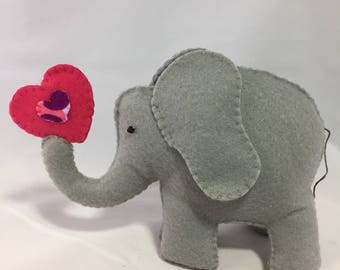 Felt Elephant with Pink and Purple Heart - 6 inches tall