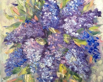 """Lilacs Original Painting Floral  oil painting on canvas 12 x 12"""""""