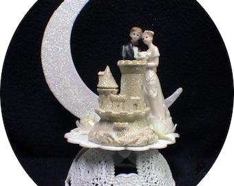 Sand Castle Beach Florida Wedding Cake Topper. Ocean Lake bride and Groom Top