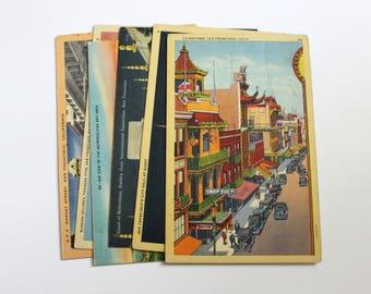 6 Vintage San Francisco California Postcards Used