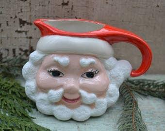 Vintage Retro Ceramic Christmas Holiday Santa St. Nick Creamer