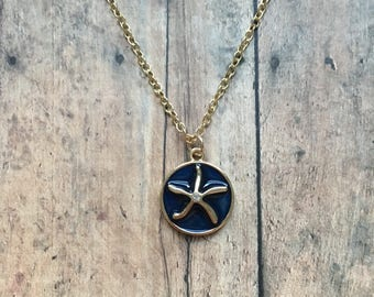 Navy and gold starfish necklace, starfish necklace, blue starfish necklace, starfish jewelry, nautical jewelry, vacation jewelry