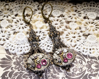 OCTOBER Steampunk Earrings, ROSE PINK SteamPunk Watch Earrings, Antique Brass Steampunk Wedding Steampunk Jewelry by Victorian Curiosities