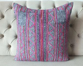 Vintage Batik Hmong Pillow Cover, Indigo Hemp Cushion Cover, Tribal Throw Pillow Case,sofa cushions