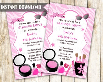Glamour Invitation - Girl Birthday Party Makeup Invite Printable Editable File INSTANT DOWNLOAD