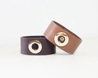 O Ring Gold Metal Bold Bracelet(Brown)