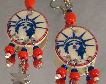 Statue of Liberty Earrings - Independence Day Jewelry - Red White and Blue Jewellery
