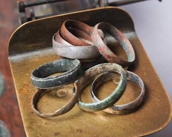 Set of 10 antique  brass rings, parts, connectors, black patina, primitive finding (03)