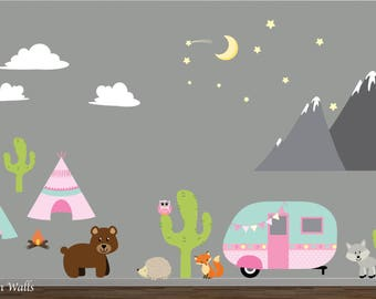 Wall Decals-Reusable Wall Decals-Nursery Wall Decal-Camper, Mountains, TeePee, Animals, Cactus Wall Decals-Nursery Wall Stickers-Camping