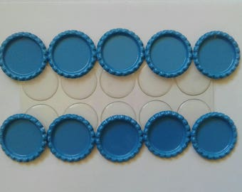 Ten Flattened Turquoise Blue Bottle Caps with Premium Epoxy Stickers, 10 Turquoise Blue  Flattened Bottle Caps and Premium Epoxy Stickers