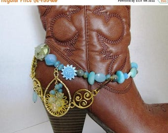 SALE Shabby Chic and girly BOOT JEWELRY for wearing as dressy formal wear for your boot with blues, teals, and gold chains