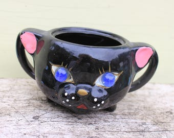 Vintage Black Cat Sugar, Japan, Marble Eyes