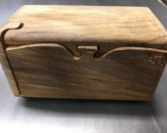 Handcrafted 4 Piece Southern Magnolia Puzzle Box with inner compartment
