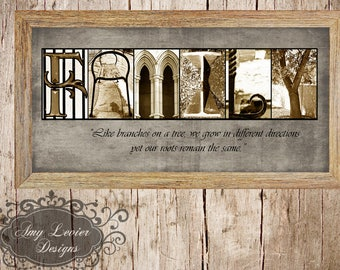 "Alphabet Photography Letter Photo Art ""FAMILY"" 10x20 Framed"