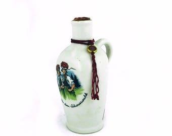 ON SALE Vintage Mini German liqueur porcelain bottle, Black Forest, German souvenir