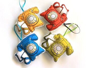 Telephone ornament set: Vintage themed Christmas ornaments- Plush ornament