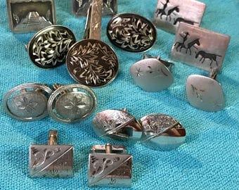 7 Designer Vintage Sterling Silver Cuff Link Sets