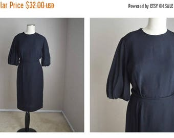 Summer SALE - 20% off - vintage 50s black three quarter sleeve belted dress -- womens small --36-26-38