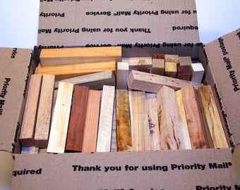 BOX of PEN BLANKS - Medium Flat Rate box filled with various hardwood pen blanks. (85+ total blanks) (Box #2)